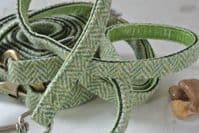 Harris Tweed Green Herringbone Dog Lead